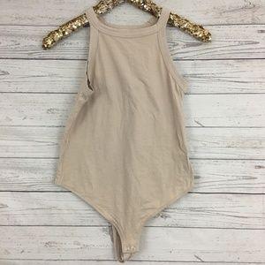 Limeblue nude tan beige high neck bodysuit stretch